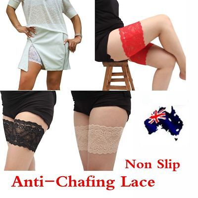 Women Lace Non Slip Elastic Socks Anti-Chafing Thigh Bands Leg Warmers
