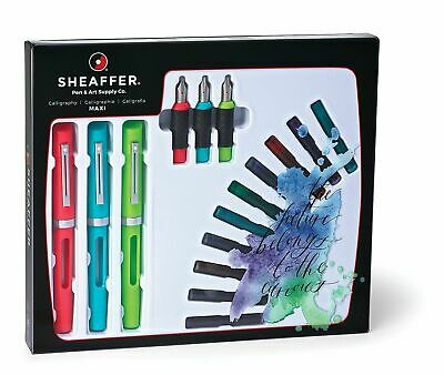 Sheaffer Calligraphy Maxi Kit 3 Nibs, 3 Pens, 20 Ink Refills 83404, NEW EDITION
