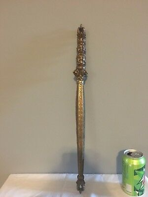 Antique Asian Ceremonial Staff Brass Patina