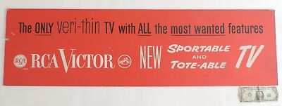 Vtg RCA VICTOR Sportable and Tote-able Veri-Thin TV Display Sign 1950's 1960's