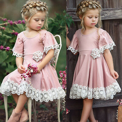 USA Easter Kids Baby Girl Dress Lace Floral Party Dress Pageant Bridesmaid Dress