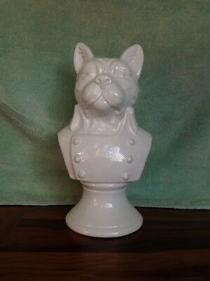 "VERY COOL~nearly 16"" Tall~French Bull Dog Bust In Jacket~White Ceramic~Woof,Woof"