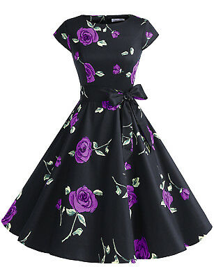 Vintage 50s Women Floral Print Cap Sleeve Swing Dress with Belt Party Prom Dress