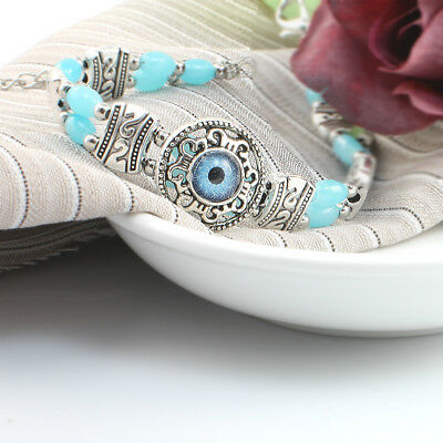 Silver Toned Vintage Bracelet With Evil Eye Amulet Charm and Blue Stone,Gift Box