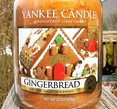 """Yankee Candle Retired """"GINGERBREAD"""" Food ~ Large 22 oz ~ WHITE LABEL~ RARE ~ NEW"""