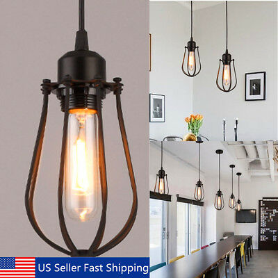 Vintage Light Retro Industrial Iron Shade Cage Ceiling Pendant Lamps Edison Bulb