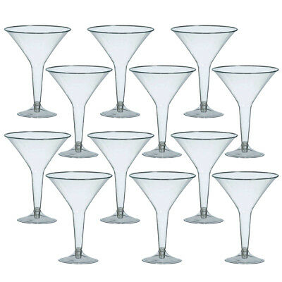 Disposable Clear Plastic 12 Large Glasses Martini Cocktail Party Drinks Glasses