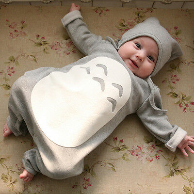 Cute Totoro Grey or Pink 6-24 Months Long Sleeved Baby Jumpsuit Romper with Hat