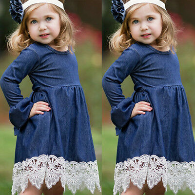 US Infant Kid Baby Girls Denim Ruffles Lace 1pc Party Pageant Dress Long Sleeve