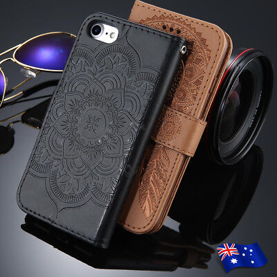 For Apple iPhone 8 7 6 Plus 5 SE Flip Mandala Leather Magnetic Wallet Case Cover