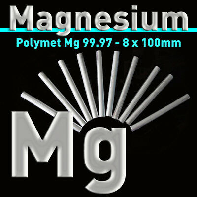 10 St. Magnesium-Rundstäbe 8 x 100 mm, Mg rein 99,97%, Magnesiumstab Stab Anode