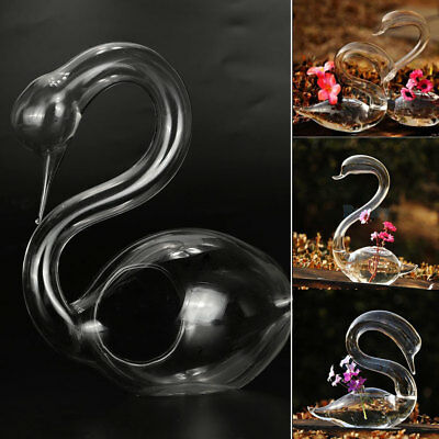 Flower Vase Glass Bottle Container Creative Clear Swan Shaped 3D Ornament