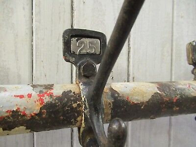 Vintage Reclaimed Cast Iron Numbered Coat Hooks On Metal Pole With Wall Fixings
