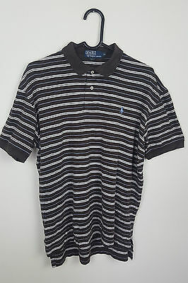 Mens Ralph Lauren Brown Striped Vtg Short Sleeve Polo Shirt Top Vgc Uk M