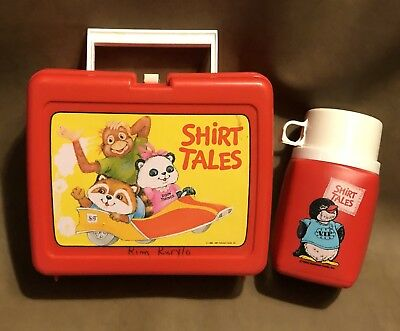 Vintage 1981 SHIRT TALES Hallmark Thermos Red Plastic LUNCH BOX Lunchbox