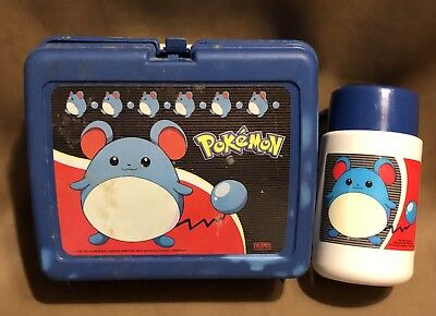 Vintage Plastic Pokemon Lunchbox Blue Marill With Thermos