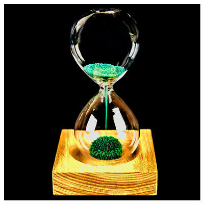 Green wood + glass + iron powder sand iron flowering magnetic hourglass wit D2X8
