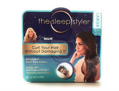 "The Sleep Styler Kit Long NIP 8 Teal Rollers Curlers 6"" Long Shark Tank Curlers"