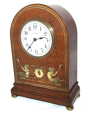 Antique EDWARDIAN Inlaid Mahogany Bracket Mantel Clock R STEWART GLASGOW (a75)