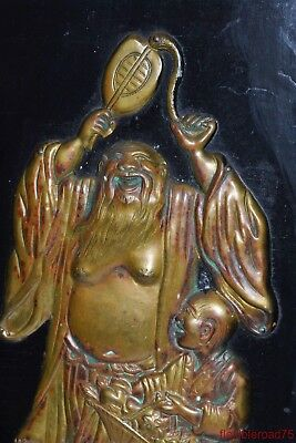Antique Chinese Lacquer Wall Panel with Brass Sculpture of Hotei Buddha