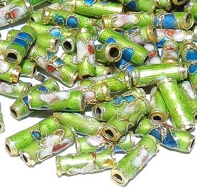 CLXL134L Green 9mm Round Tube Enamel Overlay on Metal Cloisonne Beads 100pc