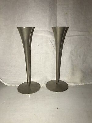 Vintage Mid Century Modern Chrome Candle Sticks Pair  A.S. Solingen GERMANY
