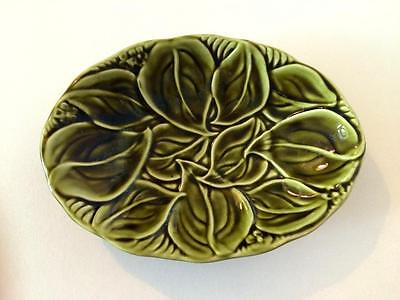 Vintage Eastgate Pottery Dark Green Oval Soap Dish Leaves Pattern Pre-1967