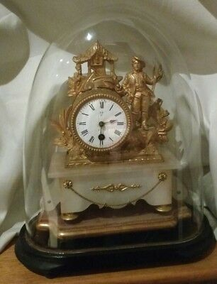 French 19th Century Metal and Alabaster Mantle Clock with Provenance