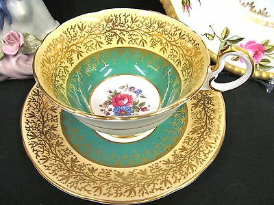 AYNSLEY TEA CUP AND SAUCER green & gold gilt PATTERN TEACUP FOOTED CREAM BAND