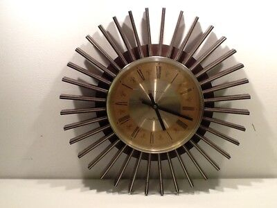 Vintage Retro 70's Style Starburst Clock by Westclox of Scotland,Quartz battery