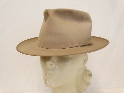 VINTAGE MALLORY The Mallory Ten FEDORA HAT Taupe Size 6-7/8 Small