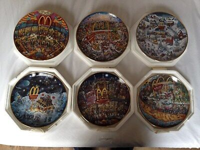 McDonald's set lot of six Franklin Mint Collectors Plates Bill Bell in packaging