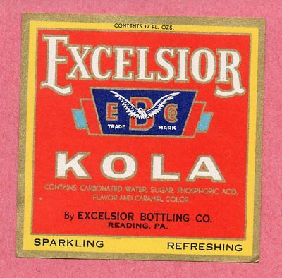 12oz EXCELSIOR KOLA  LABEL by EXCELSIOR BOTTLING CO READING PA