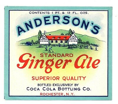 1 pt 12 oz ANDERSON'S GINGER ALE BOTTLE LABEL by COCA COLA BOT CO ROCHESTER NY