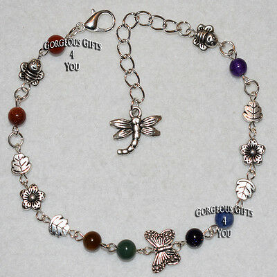 Unique Bumble Bee Dragonfly Gemstone Flower Leaf Anklet / Ankle Bracelet Gift