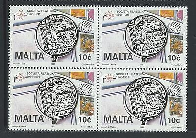 1991 MALTA 25th Anniversary Maltese Philatelic Society Block of 4 MNH(Scott 768)
