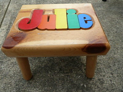 Hand Made Pine Childrens Stool Puzzle Carved name Julie Unique Toy/ Stool NICE!