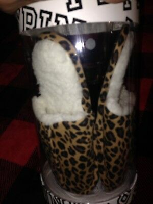 Victoria's Secret Pink Slippers, Eye Mask, And Tumbler Gift Set NWT Cheetah S