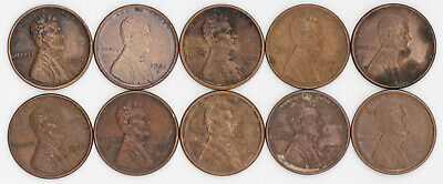 1921 S Lincoln Wheat Cent Penny 1C Xf / Au Details 10 Coins