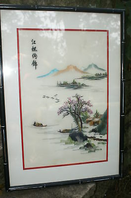 Vintage Framed Chinese Silk Embroidery Village Harbor Boaters Trees  Scene
