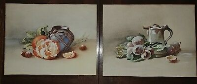 Pair Of Early 20th Century Vintage Watercolor Paintings Unknown Artist