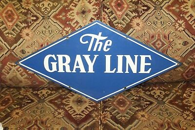 1940s Vintage The Gray Line Bus Porcelain Sign Transportation Advertising