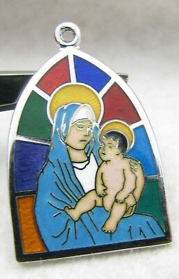 Vintage Griffith Enamel Stained Glass Window Mary Baby Jesus Sterling Charm NOS