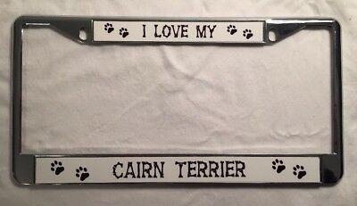 POWERED BY CAIRN TERRIERS Chrome License Plate Frame Tag Border