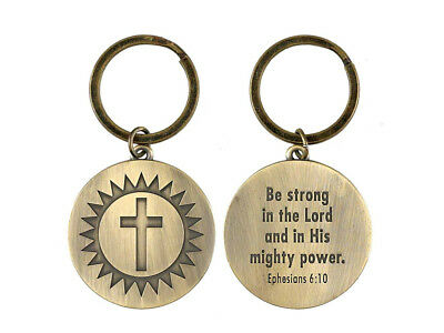Be Strong Ephesians 6:10 Sunburst Cross Christian Keychain ~ Great Gift Idea!