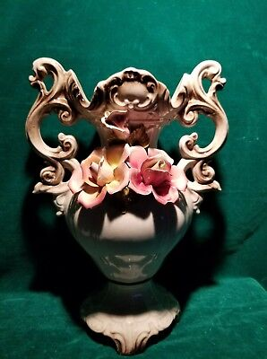 """Large 15"""" Capodimonte Urn Vase  3 Roses Made In Italy"""