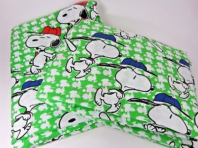 Vintage SNOOPY Peanuts BASEBALL Double (Full) Sheet Set (1) Flat & (1) Fitted
