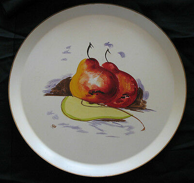 Vintage Round Pear TOLE TRAY Hand Painted Fruit Country French Still Life Nashco