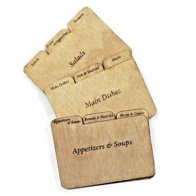 Cookbook People Wood Recipe Card Dividers 4 x 6 with Tabs