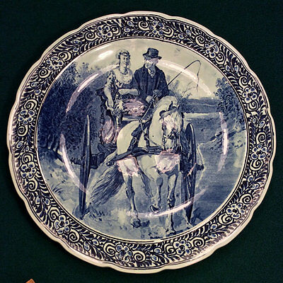 """Horse Carriage Delfts Royal Sphinx Maastricht Wall Plate Charger Platter 15 3/4"""""""